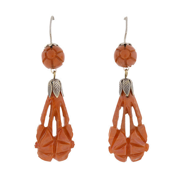 Retro Hand Carved Natural Amber Earrings