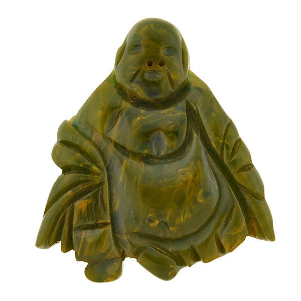 Retro Carved Green Bakelite Buddha Pin