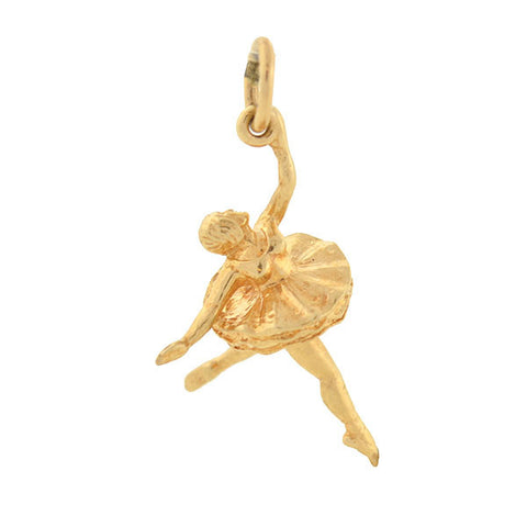 Vintage 14kt Gold Miniature Ballerina Dancer Charm