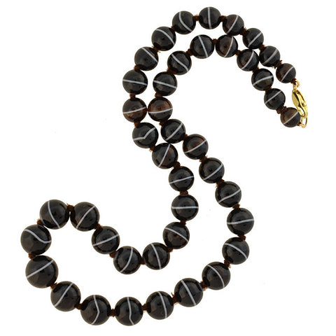 Victorian 14kt Graduated Banded Agate Bead Necklace 25.5""