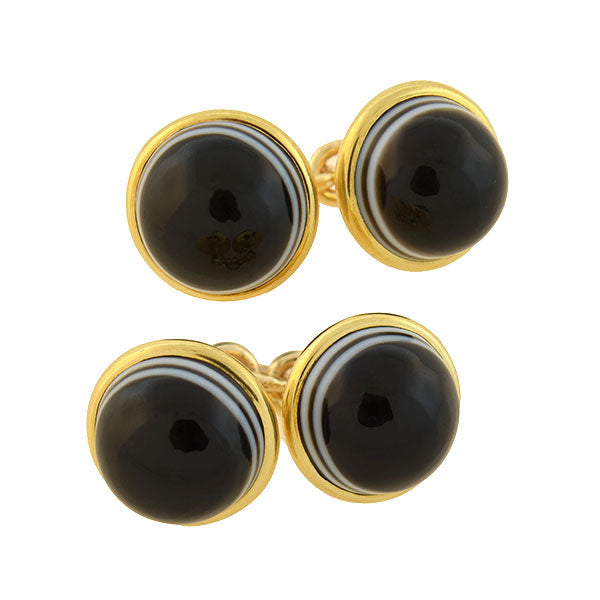 Victorian 14kt Banded Agate Cufflinks
