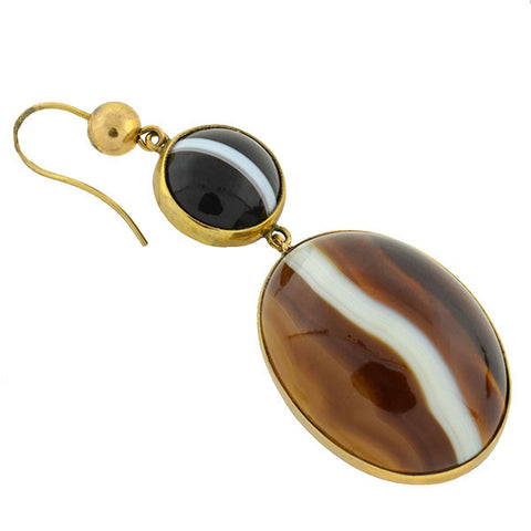 Victorian 9kt Banded Agate Drop Earrings