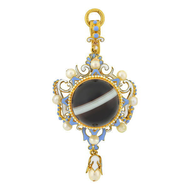 Victorian 18kt Banded Agate Enamel & Pearl Pendant