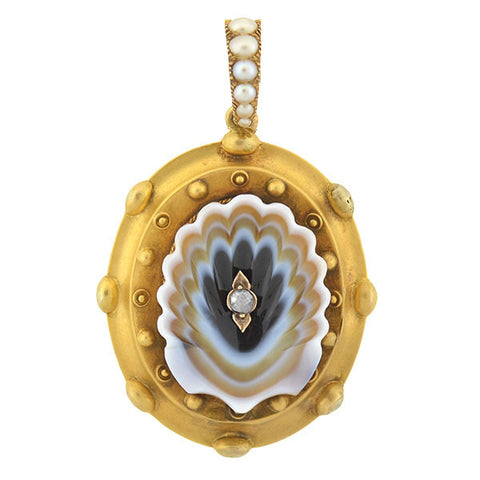 "Victorian 18kt Carved Banded Agate ""Shell"" Pearl & Diamond Locket"
