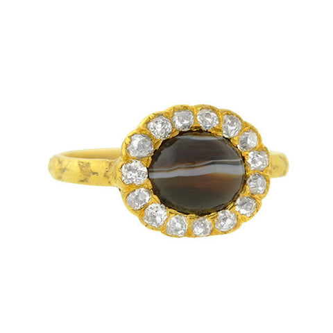 Victorian 18kt Banded Agate & Diamond Ring