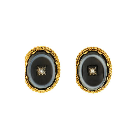 Victorian Banded Agate & Diamond Stud Earrings
