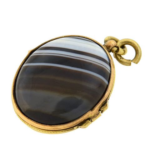 Victorian Gold-Filled Banded Agate Double-Sided Locket