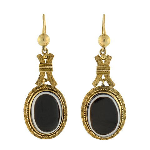 Victorian 12kt Gold Banded Agate Earrings