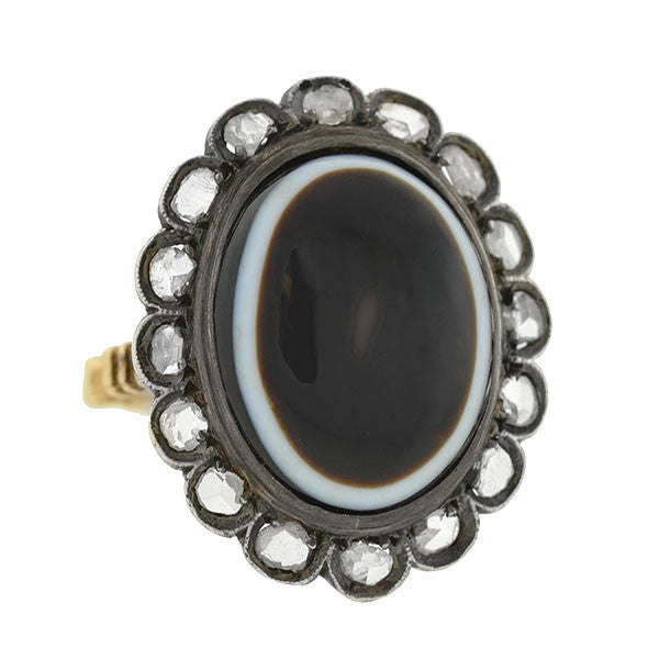 Victorian Silver Topped 15kt Banded Agate & Rose Cut Diamond Ring