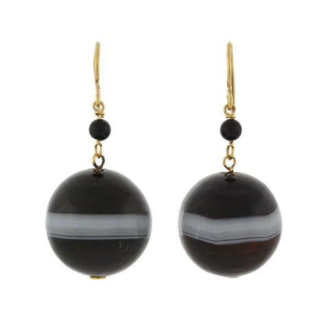 Victorian Large 10kt Graduating Banded Agate Earrings