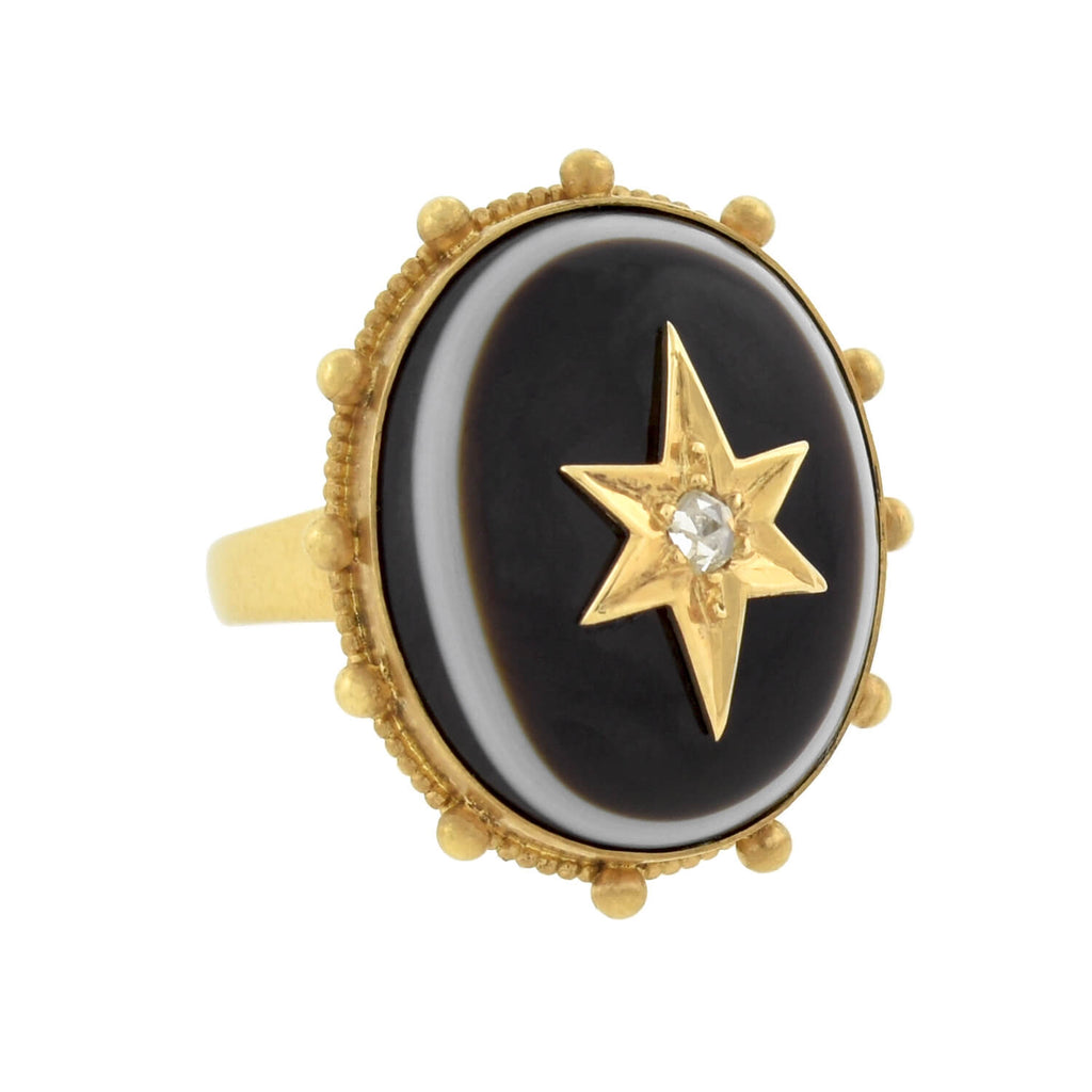 Victorian Large 14kt Banded Agate + Rose Cut Diamond Starburst Ring