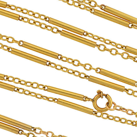 Late Victorian Long 18kt Barrel Link Chain Necklace 48""