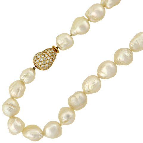 Estate 18kt Baroque Pearl Necklace w/ Diamond Clasp 12mm-17mm