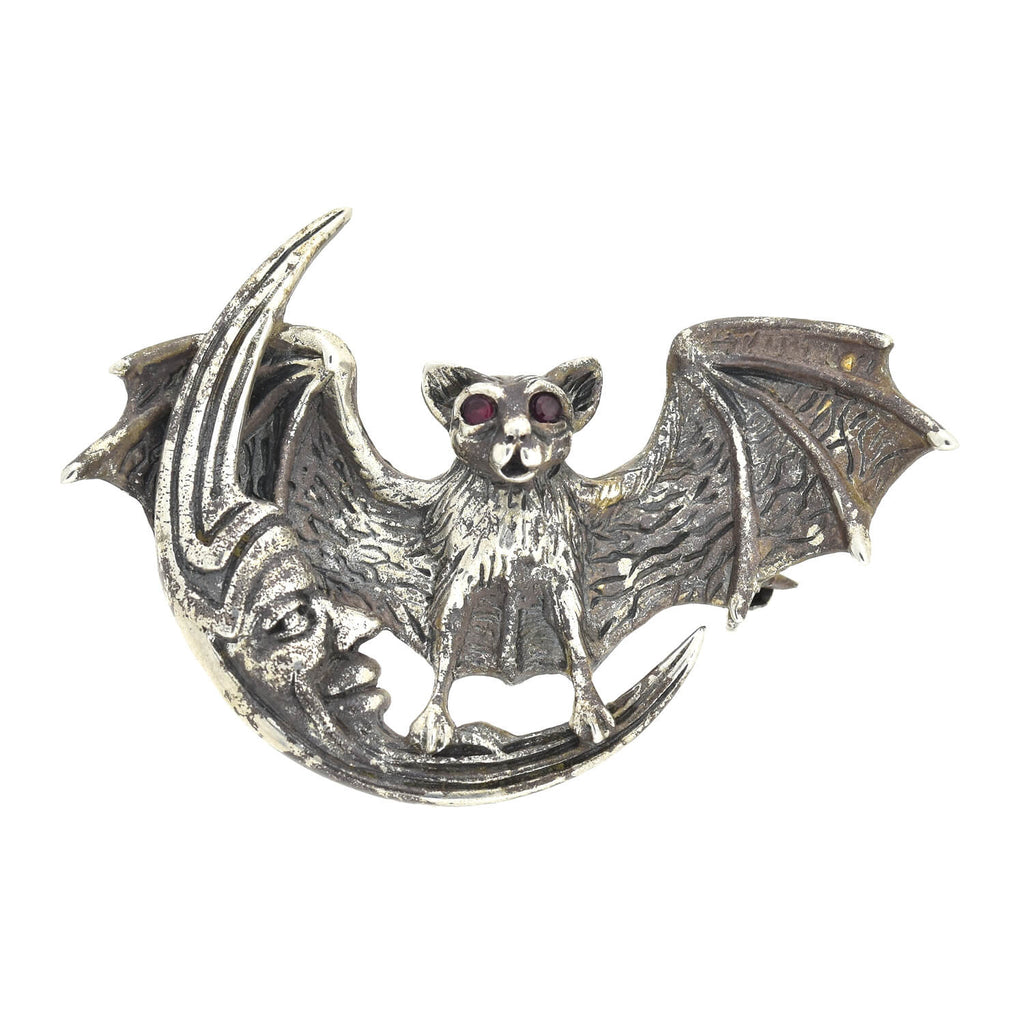 Estate Sterling Silver Bat + Man in the Moon Pin/Pendant
