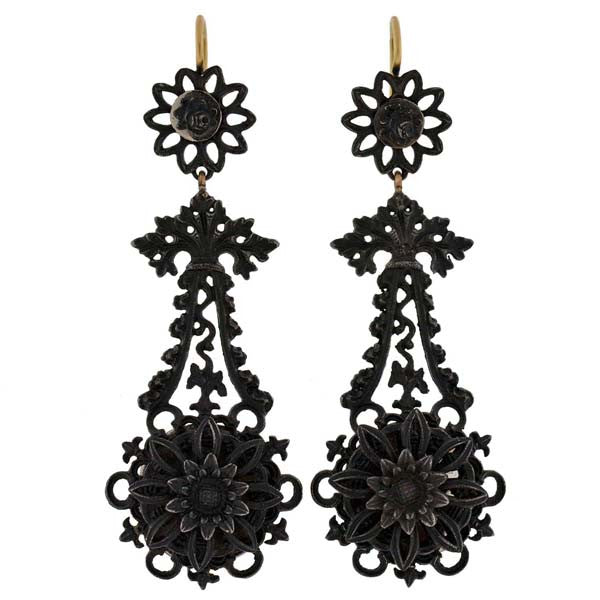 Rare Georgian Berlin Iron Earrings