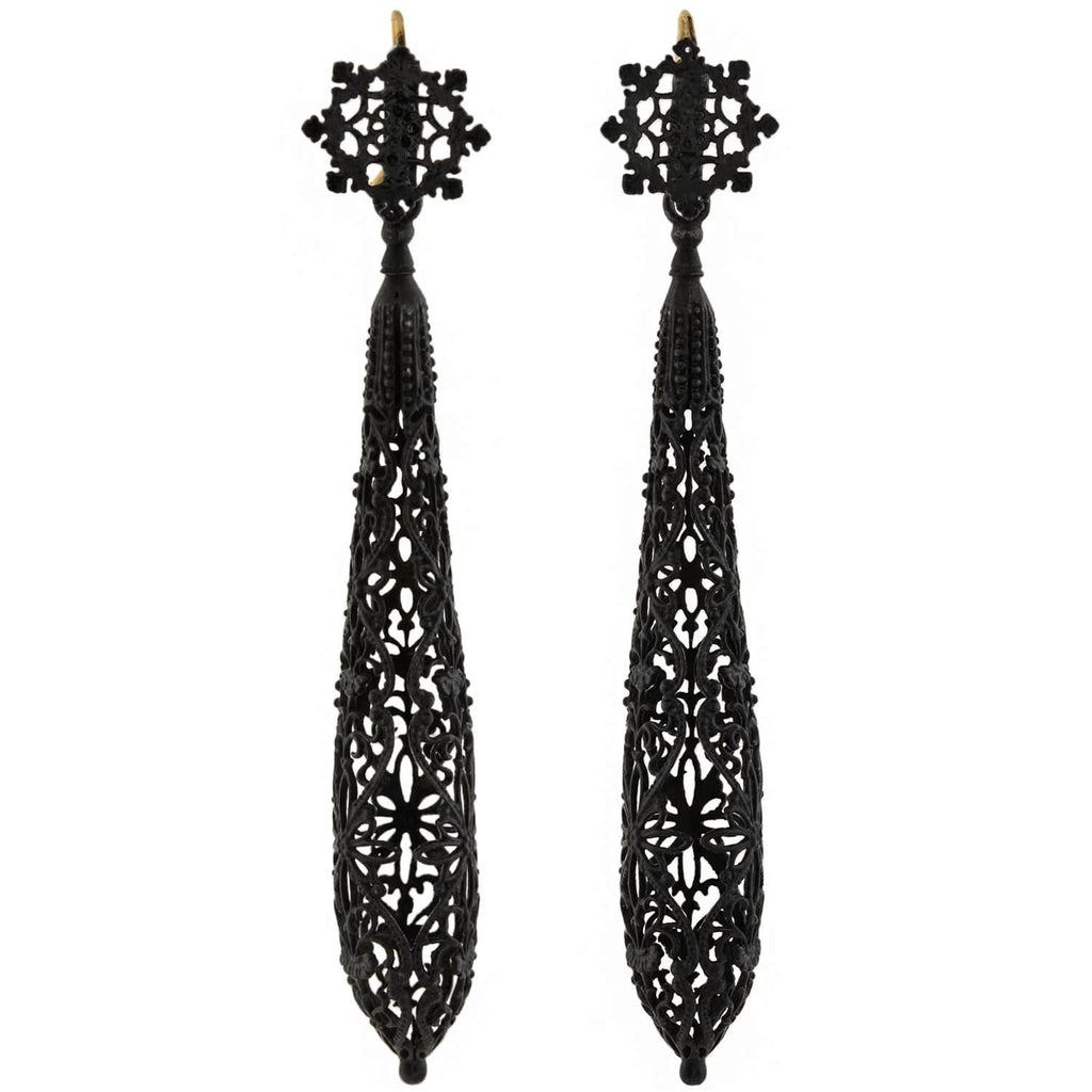 Georgian Rare 14kt Berlin Iron Filigree Vessel Earrings