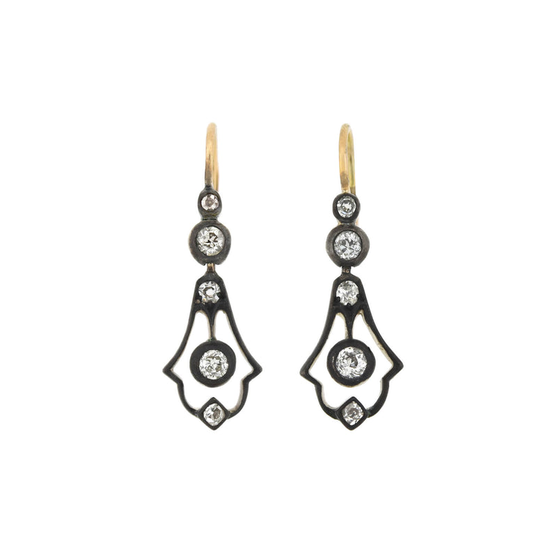 Victorian Cut Steel & Onyx Chandelier Earrings