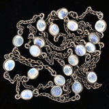 Art Nouveau Sterling Rainbow Moonstone Chain Necklace 25