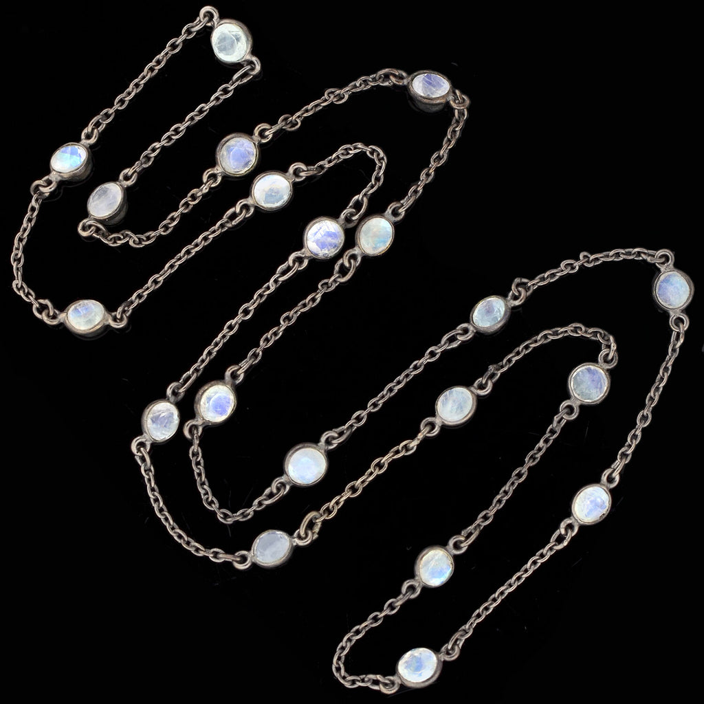 Art Nouveau Sterling Rainbow Moonstone Chain Necklace 25""