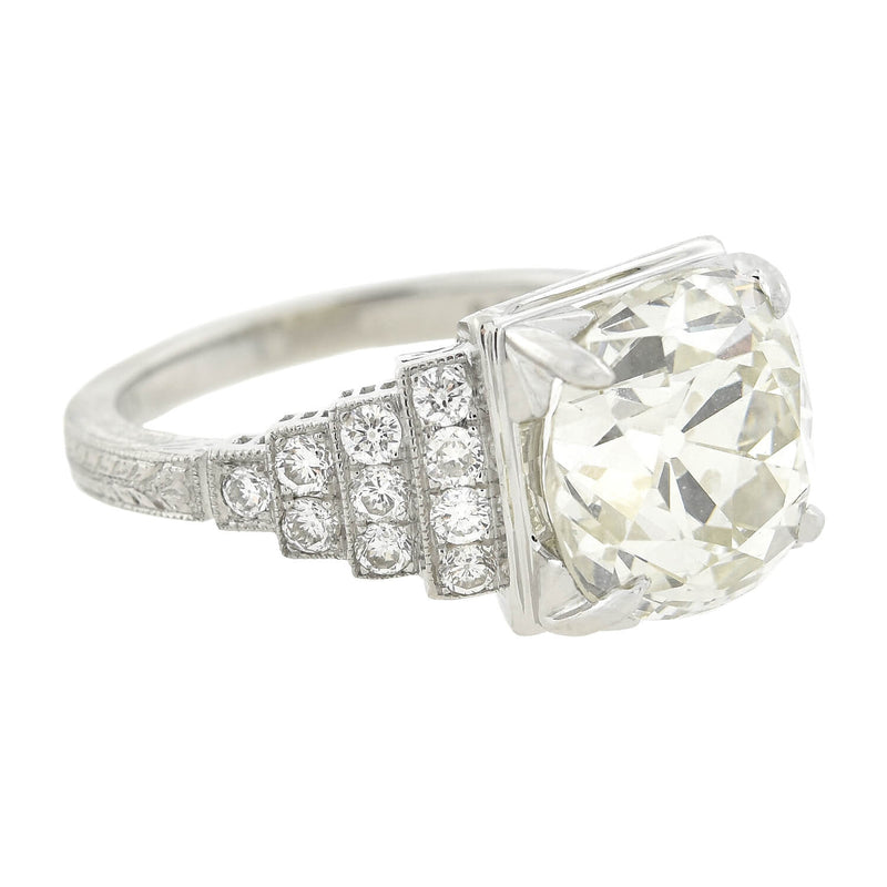 Art Deco Style 18kt Old Mine Cut Diamond Engagement Ring 3.48ctw