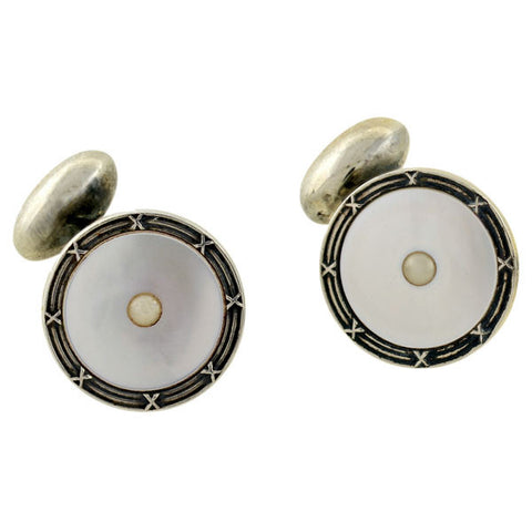 BIRKS Art Deco Sterling & Mother of Pearl Cufflinks Stud & Button Set