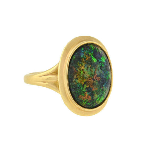 Art Deco 14kt Black Opal Ring