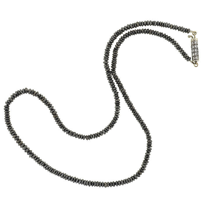 Estate Black Diamond Necklace w/ Sterling & Diamond Clasp