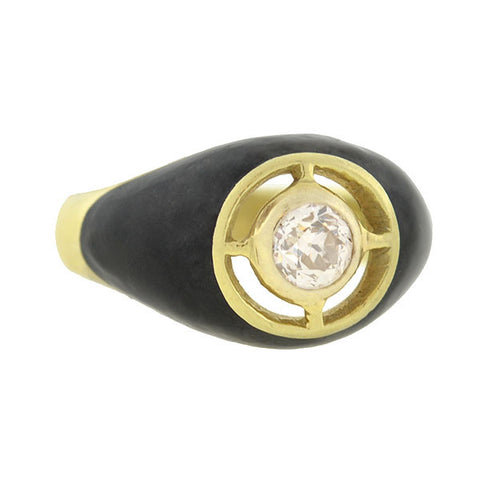 Art Deco 14kt Black Enamel & Diamond Ring .60ct