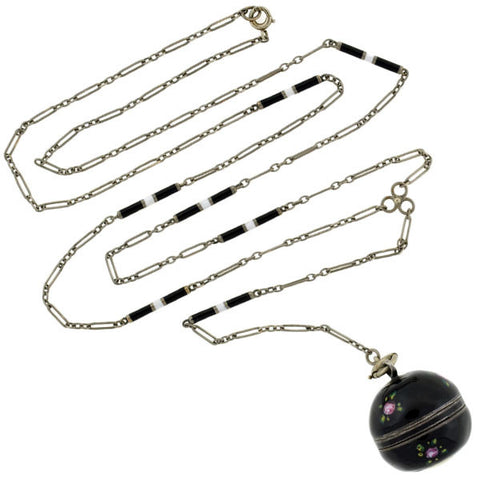 Art Deco Black Enamel & Rose Motif Watch Fob Necklace