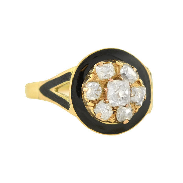 Victorian 14kt Enameled Mine Cut Diamond Cluster Ring