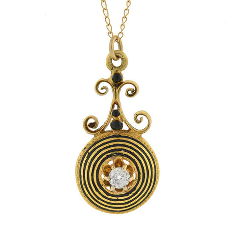 Art Deco 14kt Mine Cut Diamond & Black Enamel Spiral Necklace