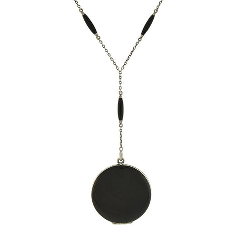 Art Deco Sterling & Black Enamel Locket Lorgnette Necklace