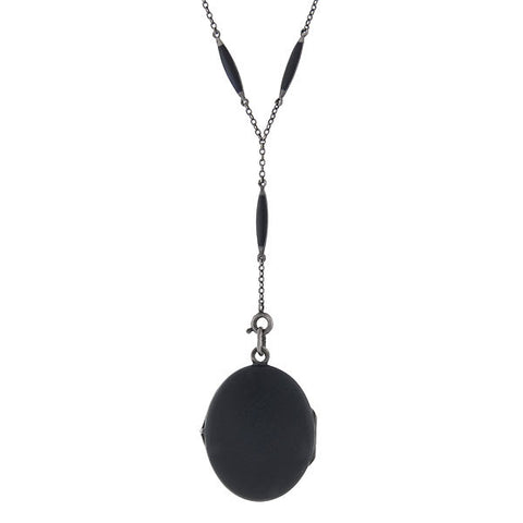 Art Deco Sterling & Matte Black Enamel Locket Necklace