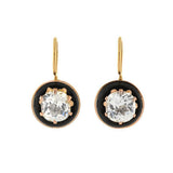 Victorian 14kt French Paste & Onyx Earrings