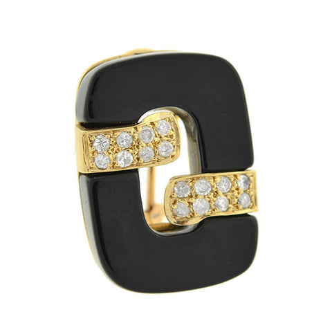 Estate 14kt Black Onyx & Diamonds Omega Clip Earrings