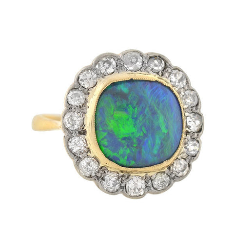 Late Victorian 18kt Black Opal & Mine Cut Diamond Ring