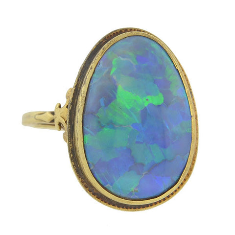 Art Nouveau 18kt Black Opal Filigree Ring 5.50ctw