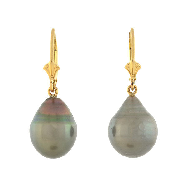 Estate 14kt Gold Tahitian Baroque Pearl Earrings