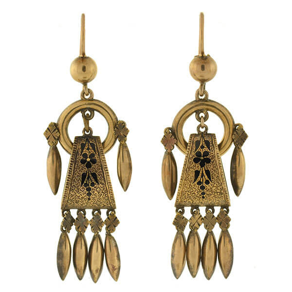 Victorian 14kt Gold & Tracery Hanging Earrings