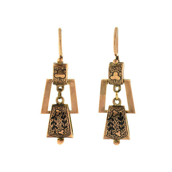 Victorian 14kt Hanging Tracery Enamel Earrings