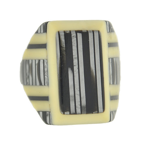 Art Deco Cream & Black Striped Celluloid Ring