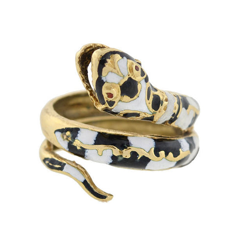 Vintage 14kt Black & White Enamel Snake Ring