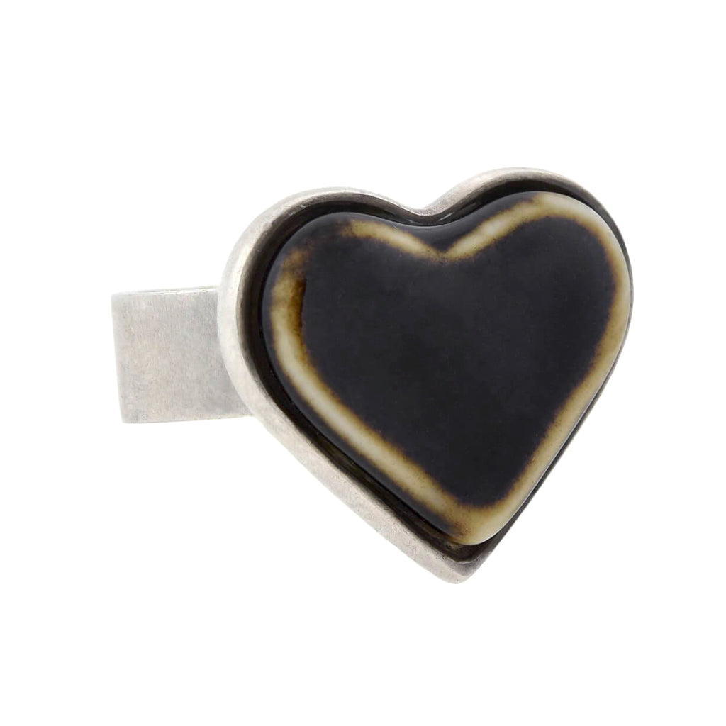ANTON MICHELSEN for Royal Copenhagen Vintage Sterling Porcelain Heart Ring