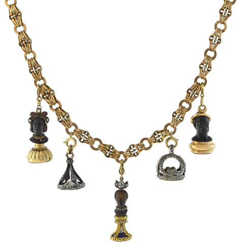 Rare Victorian + Georgian Blackamoor + Multi-Gemstone Fob Compilation Necklace 20.25""