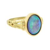 Art Nouveau 18kt Gold Bezel Set Opal Ring