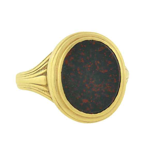 Art Deco 10kt Bloodstone Seal Ring