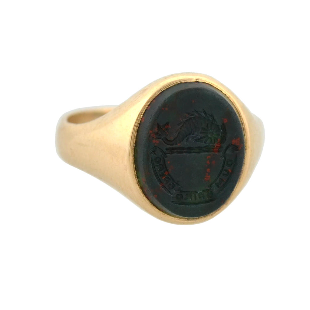 "Victorian 14kt Bloodstone ""While I breathe, I hope"" Intaglio Signet Ring"