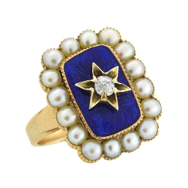 Victorian 14kt Pearl & Diamond Star Enameled Ring