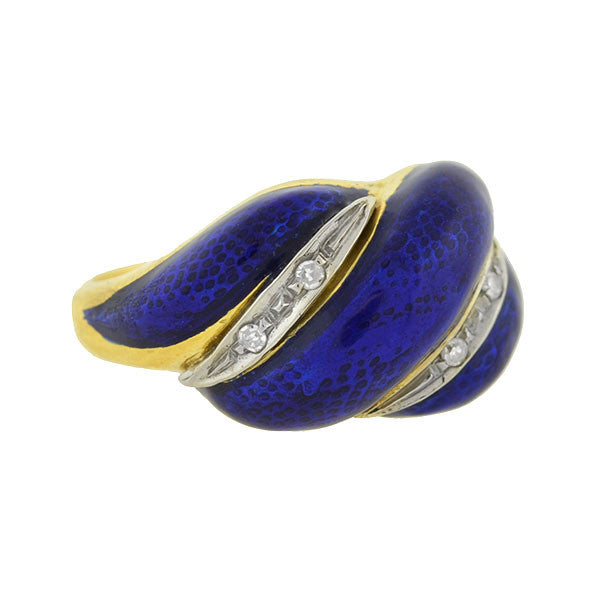 Vintage 18kt Blue Enamel & Diamond Ring