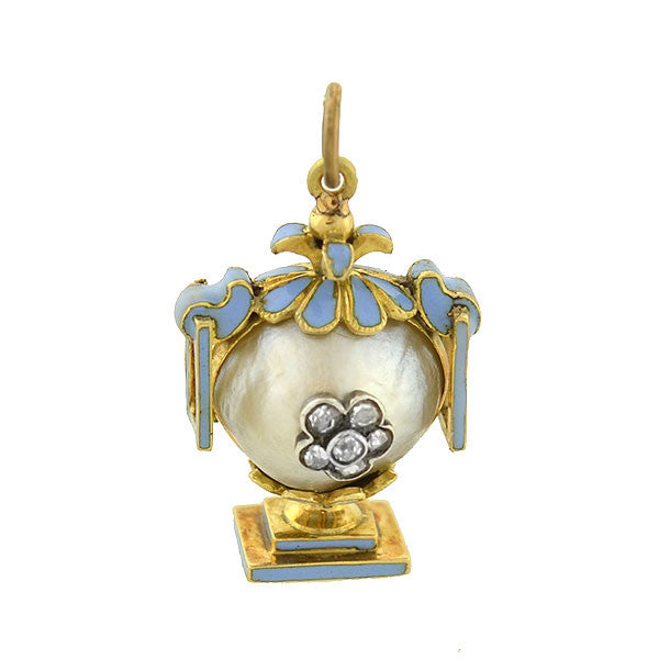Victorian 18kt Natural Pearl & Diamond Enameled Urn Mourning Pendant